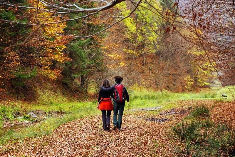 走在一条森林道路的年轻夫妇在秋天 免版税图库摄影
