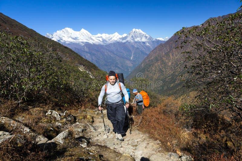 走在与背包的山行迹的年轻远足者 库存图片