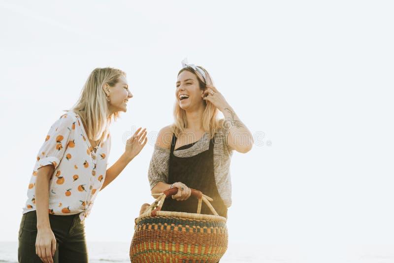 走在与野餐篮子的海滩的朋友 免版税图库摄影