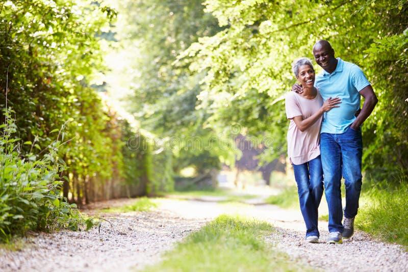 走在乡下的成熟非裔美国人的夫妇 库存照片