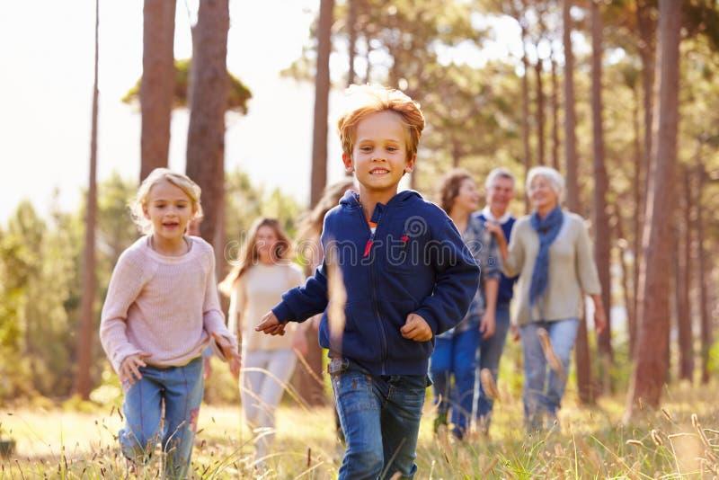走在乡下,孩子跑的多代的家庭 免版税库存图片