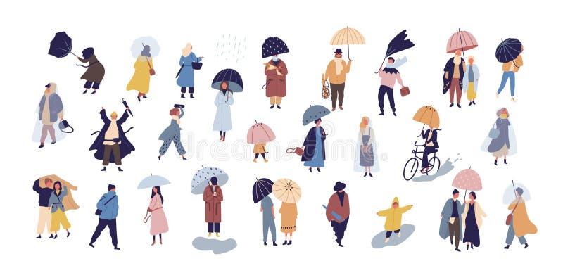 走在伞下的人的汇集在秋天雨天隔绝在蓝色背景 微小的男人和妇女人群  库存例证