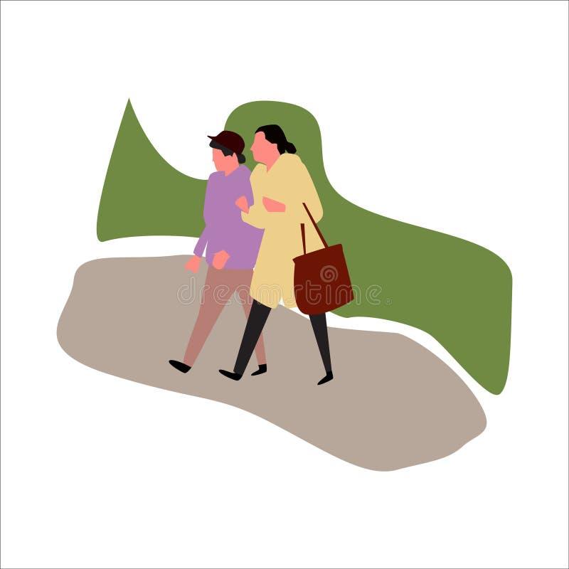 走在公园的两名妇女 ?? 皇族释放例证