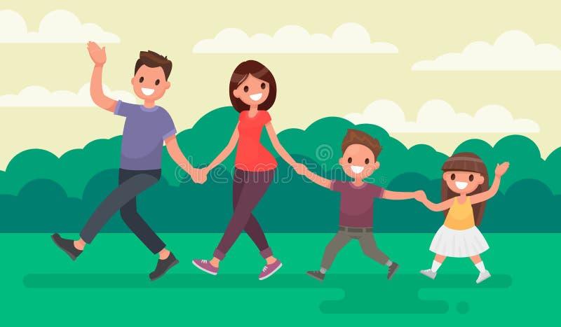 走在公园的乐趣家庭 在自然的休息 传染媒介illustrat 向量例证