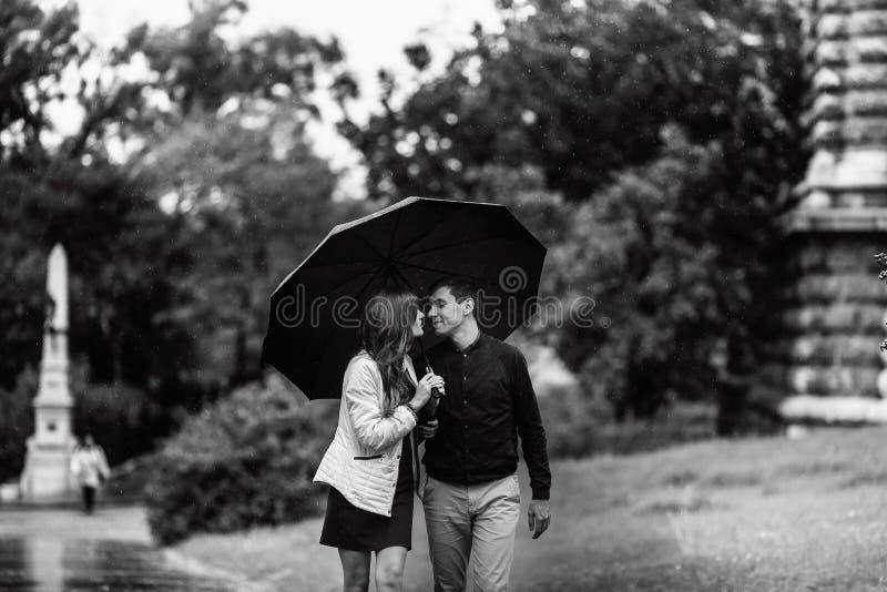 走在公园的年轻夫妇在一下雨天 爱情故事在黑白的布达佩斯 库存图片