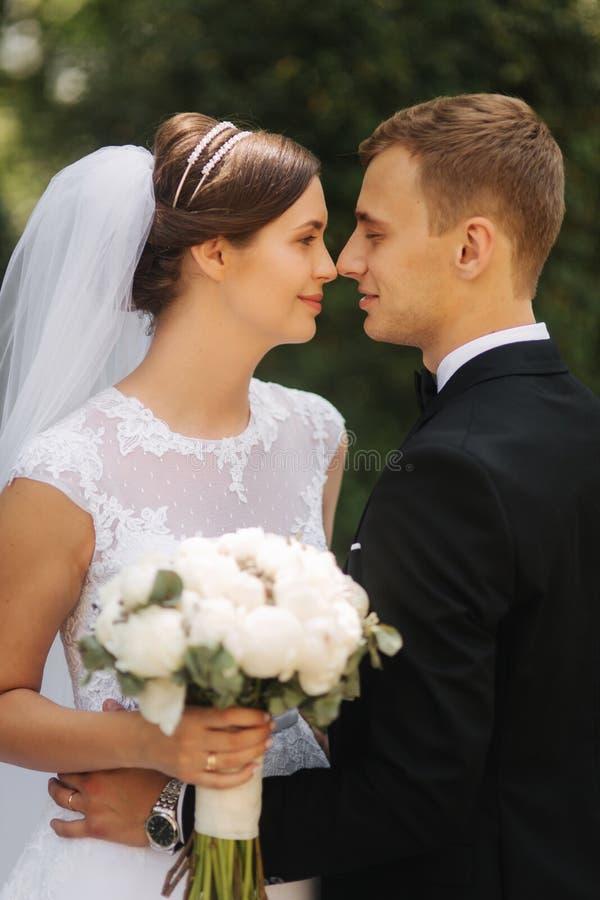 走在公园的愉快的美好的夫妇在他们的婚礼那天 结婚 免版税库存照片