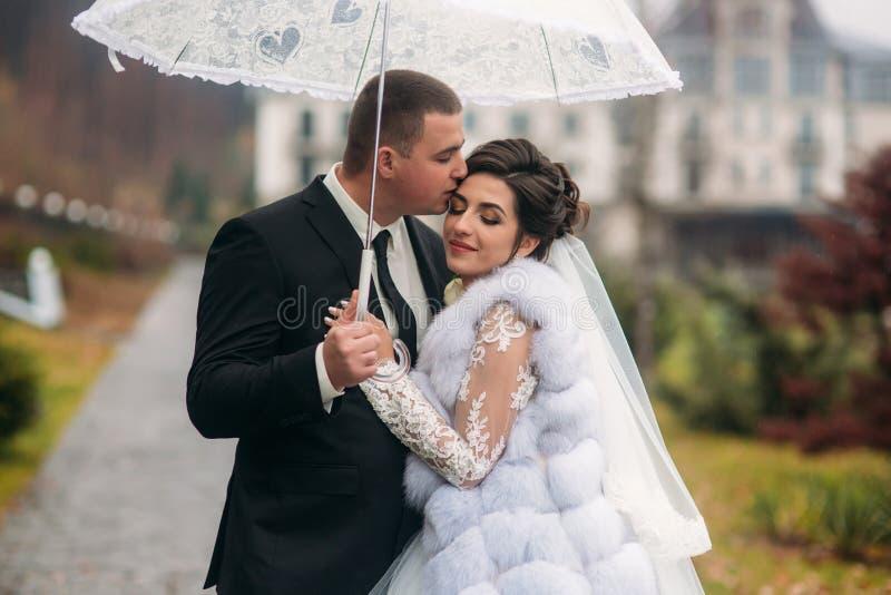 走在公园的新郎和新娘在他们的婚礼那天 秋天秋天朋友生叶在结构天气木头之下 Rair 夫妇伞 免版税库存照片