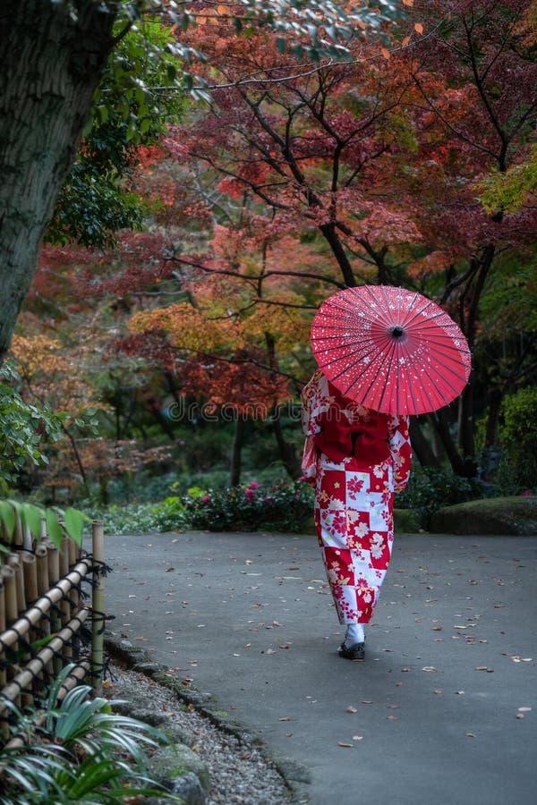 走在公园的艺妓在秋天 免版税库存照片