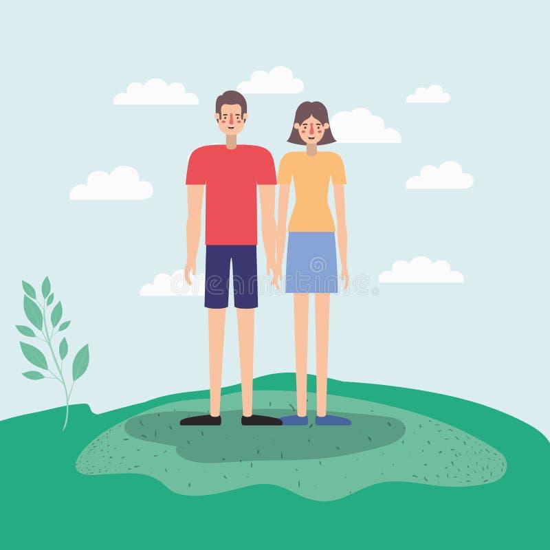 走在公园airview场面的年轻夫妇 皇族释放例证
