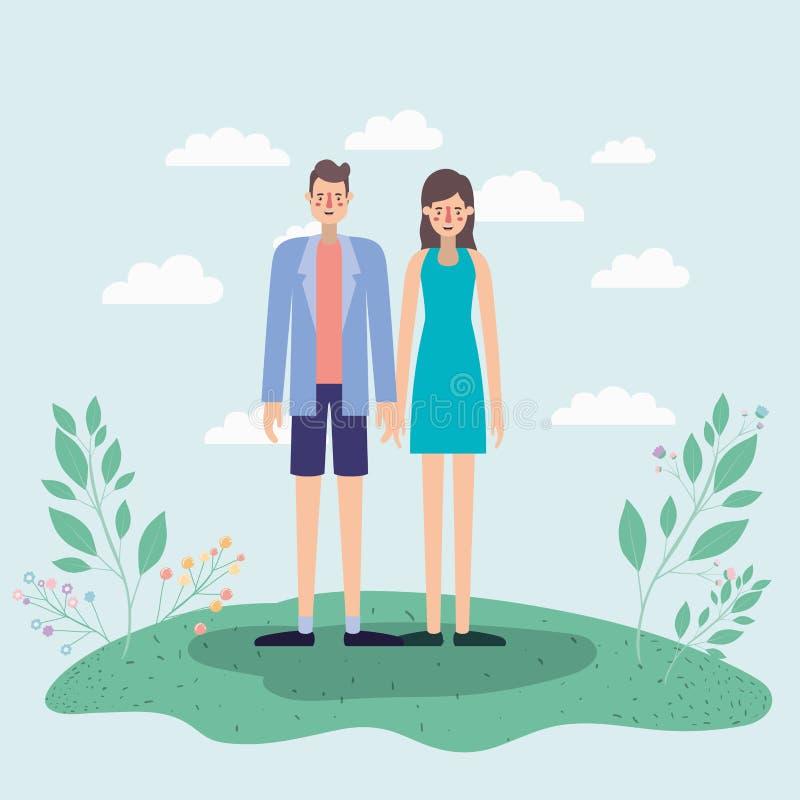 走在公园airview场面的年轻夫妇 向量例证