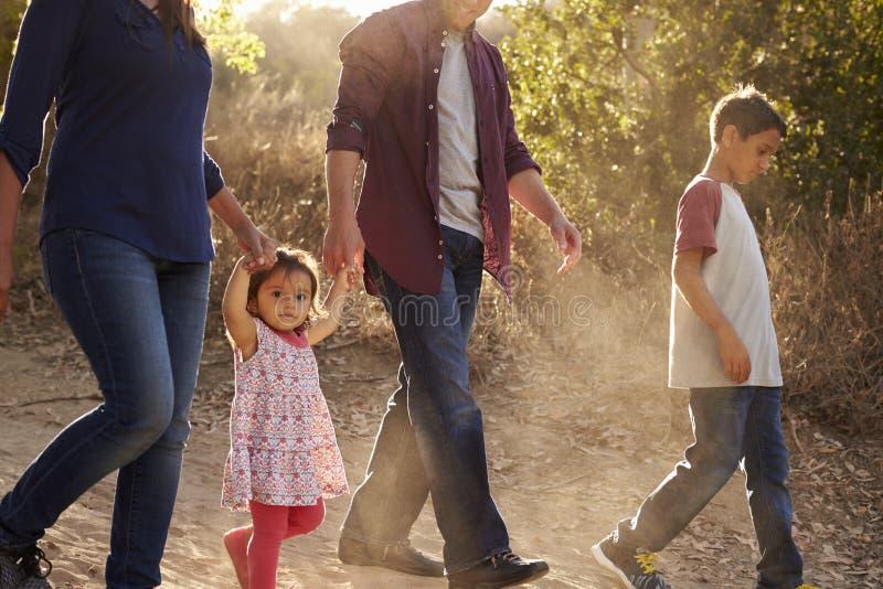 走在农村道路,侧视图的关闭的混合的族种家庭 免版税库存照片