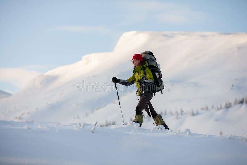 走在冬天喀尔巴阡山脉的远足者 库存图片