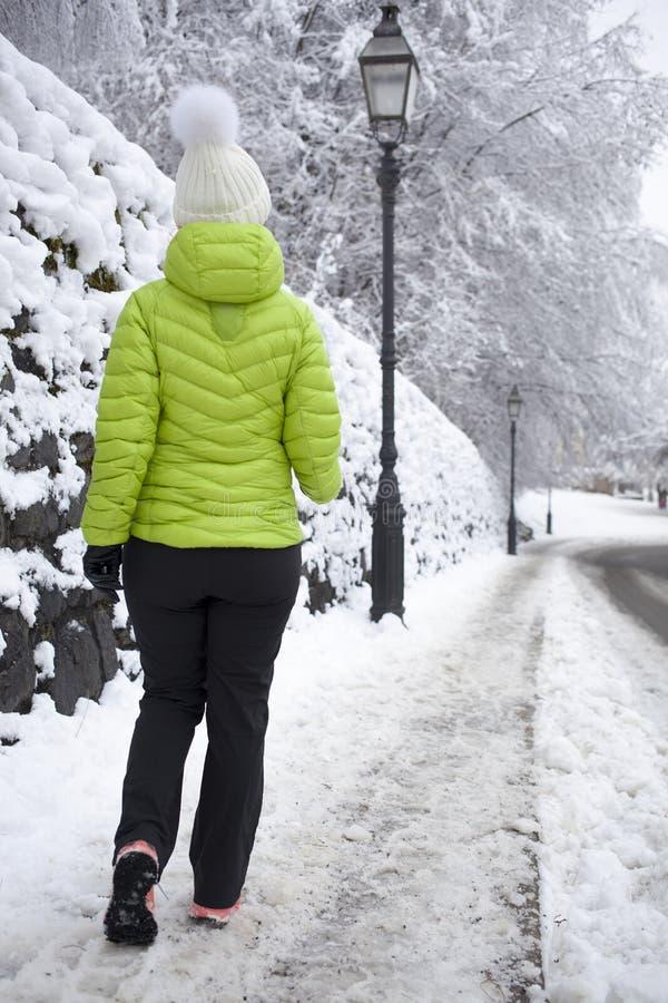 走在冬天城市公园的妇女 图库摄影