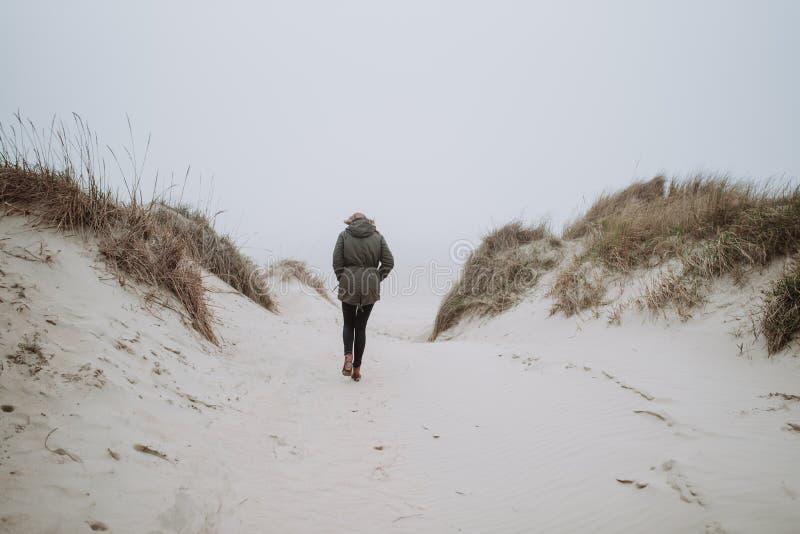 走在冬天海滩 库存照片