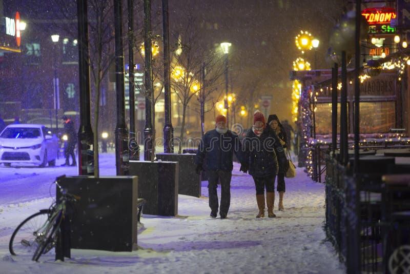 走在冬天雪风暴 免版税图库摄影