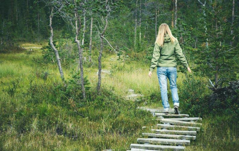 走在单独森林木路的少妇 库存图片