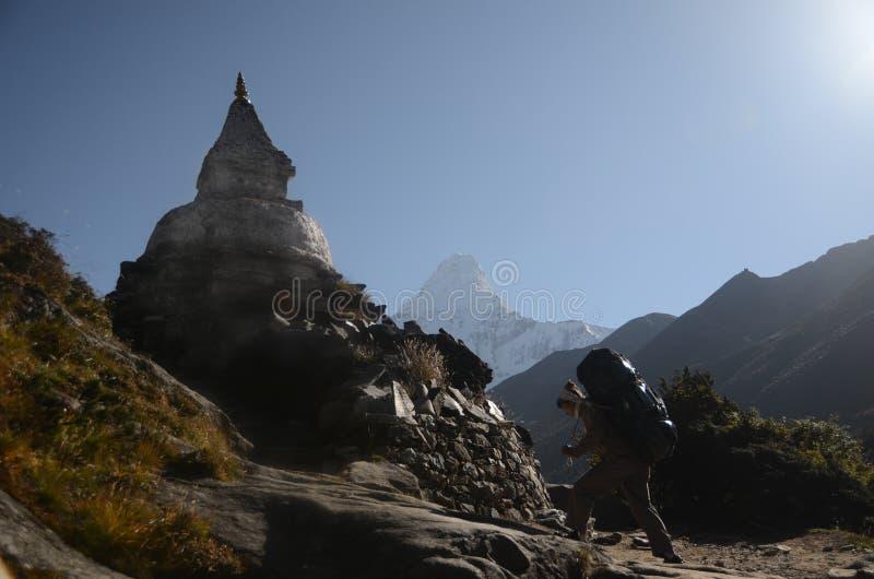 走在喜马拉雅山 免版税图库摄影