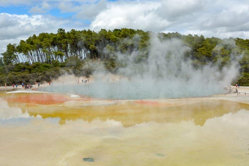 走在地热香宾水池附近的游人在Wai-O-Tapu 库存照片