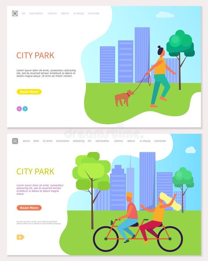 走在城市公园传染媒介的快乐的人民 库存例证