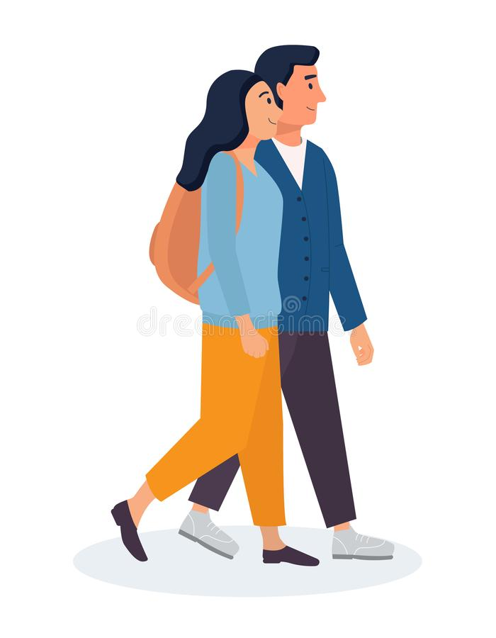 走在城市附近的夫妇 有一起去的背包和的人的妇女 r 皇族释放例证