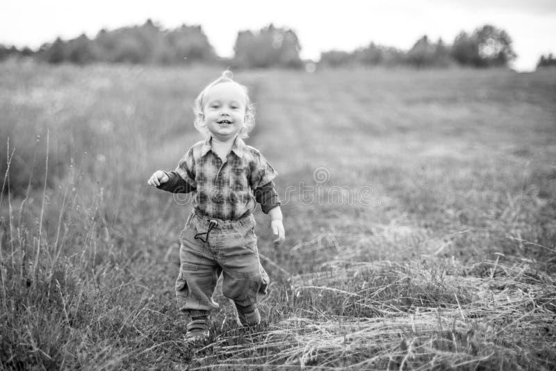 走在夏天领域的吸引人逗人喜爱的男孩 免版税库存照片