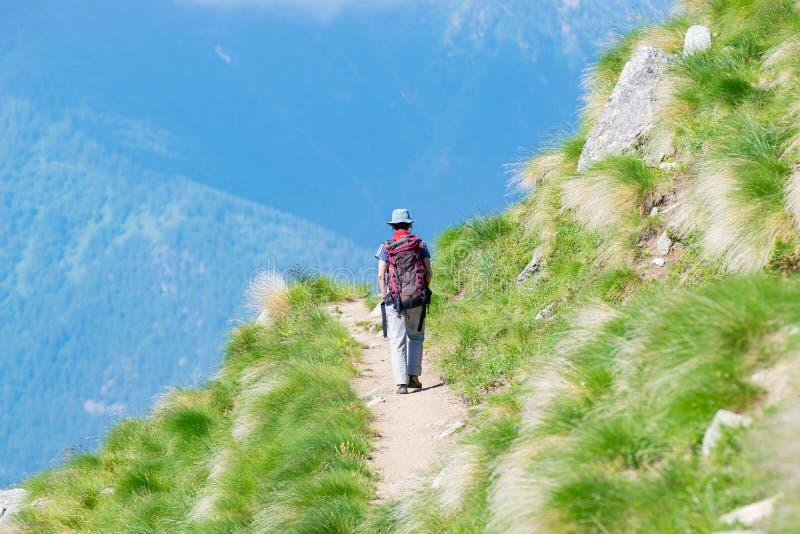 走在山的供徒步旅行的小道的背包徒步旅行者 夏天冒险在阿尔卑斯的暑假 旅行癖人旅行的骗局 免版税库存图片