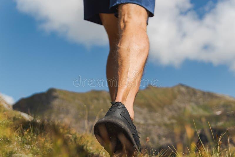 走在山的足迹的坚强男人腿 免版税图库摄影