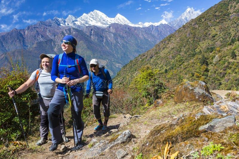 走在山行迹的小组激动的远足者 库存图片