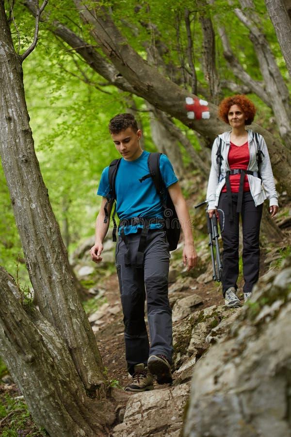 走在山行迹的远足者家庭  免版税库存图片
