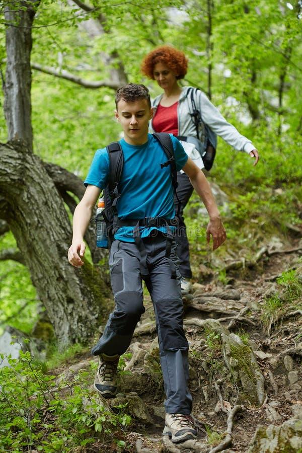 走在山行迹的远足者家庭  图库摄影