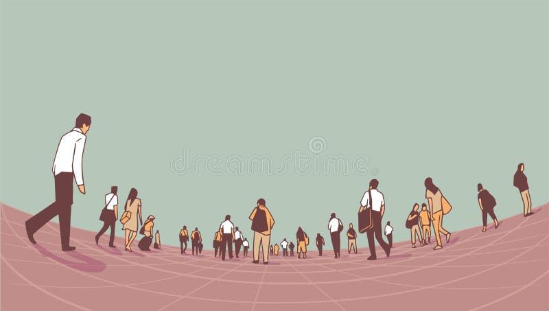 走在平台的城市人群的例证从低角度方面 向量例证