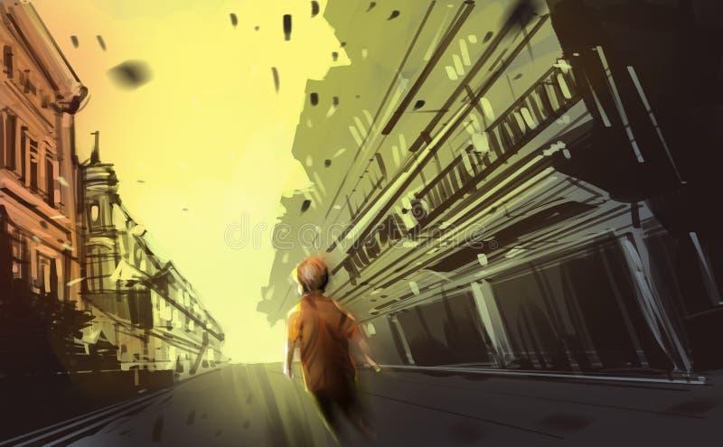 走在摒弃镇,数字式例证艺术绘画的男孩 皇族释放例证
