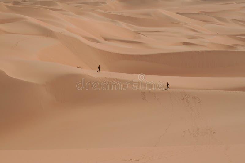 走在撒哈拉大沙漠中间的二个人 免版税库存图片