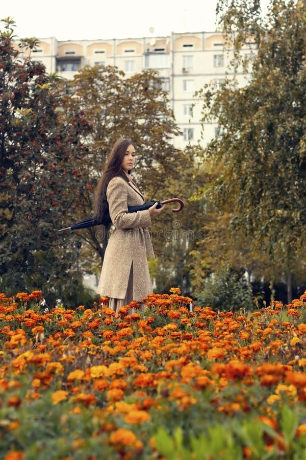 走在有伞的秋天公园的妇女 免版税库存照片