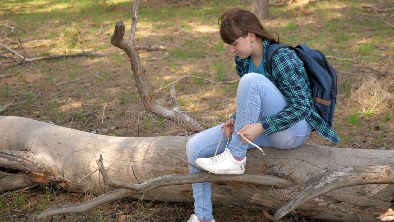 走在有背包和狗的森林里的妇女旅客 栓在运动鞋的徒步旅行者女孩鞋带 在旅途上 ?treadled 免版税图库摄影