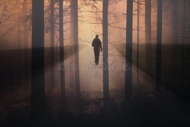 走在有雾的农村路的抽象人 库存照片