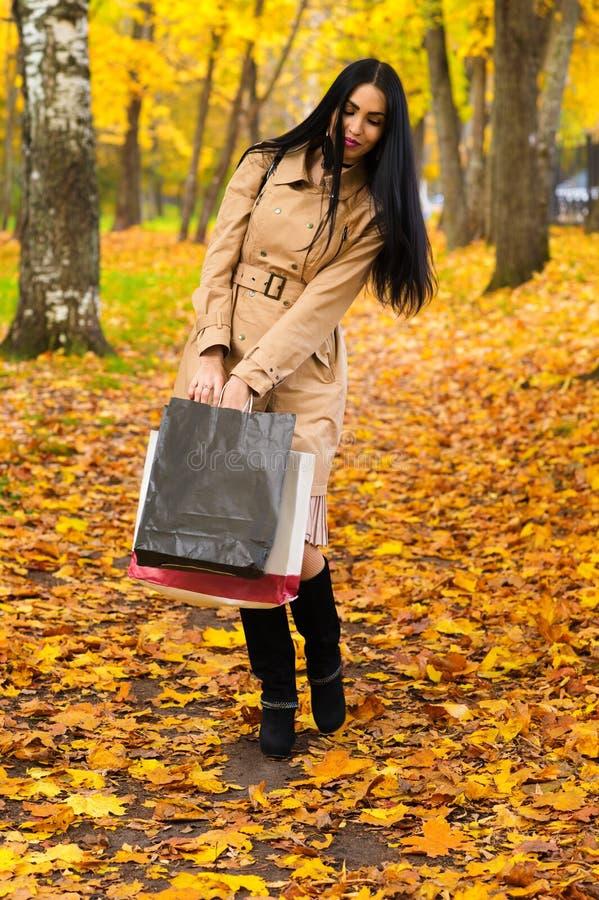 走在有购物的公园的美丽的端庄的妇女 免版税库存照片