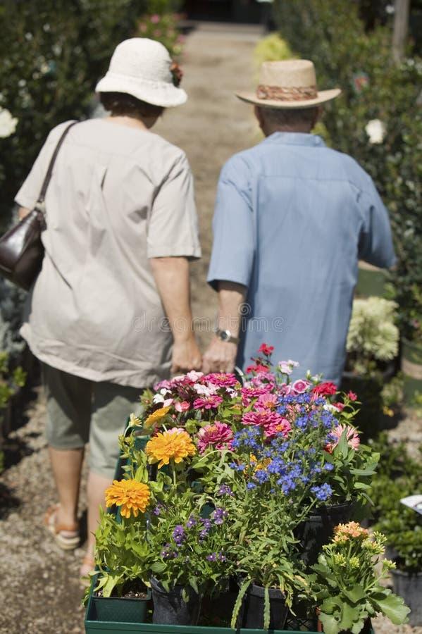 走在植物托儿所的资深夫妇拉扯花推车观看 免版税库存图片