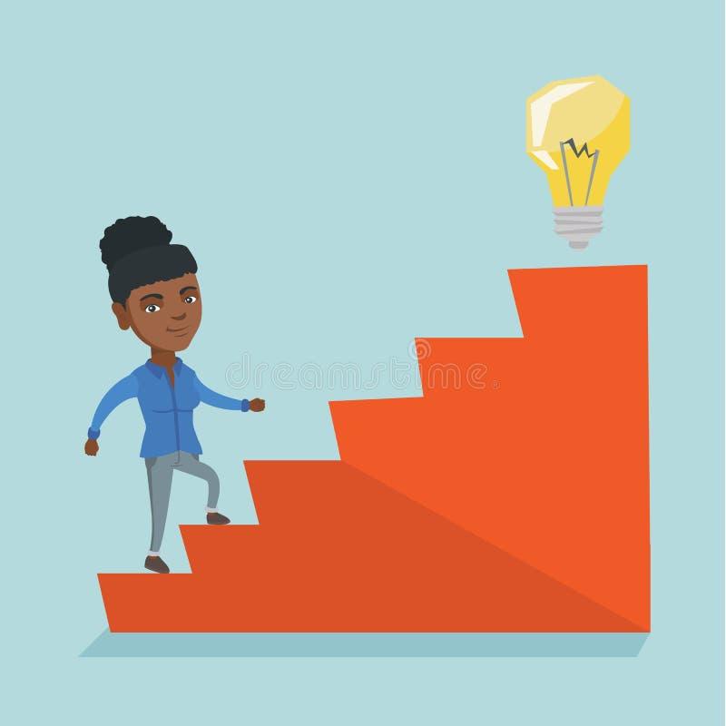 走在楼上到想法电灯泡的女商人 库存例证