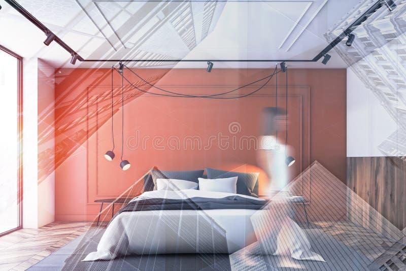 走在橙色和白色卧室的妇女 库存例证