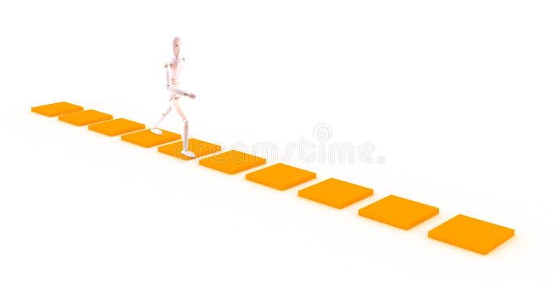 走在橙色路径的字符 库存图片