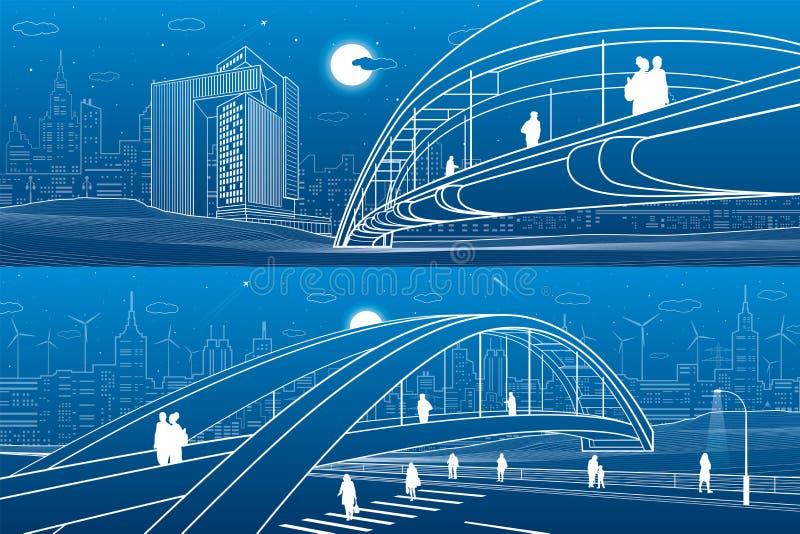 走在步行桥的人们 城市地平线 现代夜镇 基础设施例证集合,都市场面 空白线路 皇族释放例证