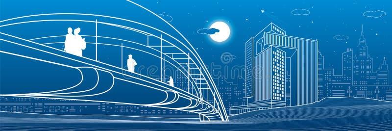 走在步行桥的人们 城市地平线 现代夜镇 基础设施例证集合,都市场面 空白线路 库存例证