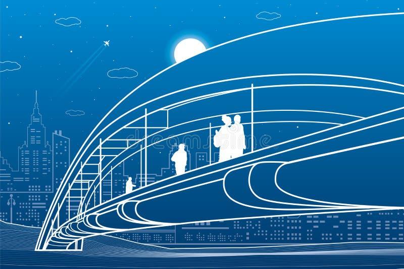 走在步行桥的人们 背景城市设计您地平线的向量 现代夜镇 基础设施例证,都市场面 在蓝色的空白线路 向量例证
