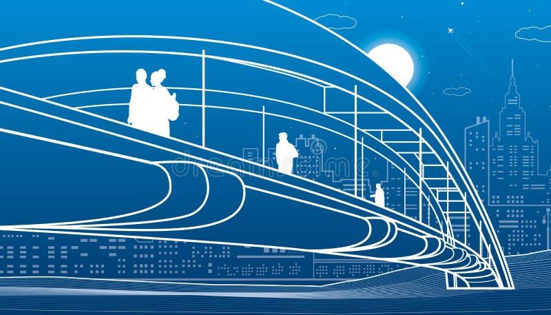 走在步行桥的人们 背景城市设计您地平线的向量 现代夜镇 基础设施例证,都市场面 在蓝色的空白线路 库存例证