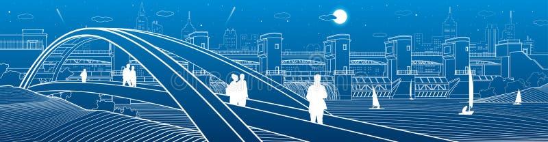 走在步行者的人们成拱形横跨水的桥梁 水电厂 河水坝,能量驻地 城市基础设施industr 库存例证