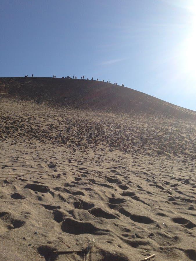 走在沙漠小山 库存图片