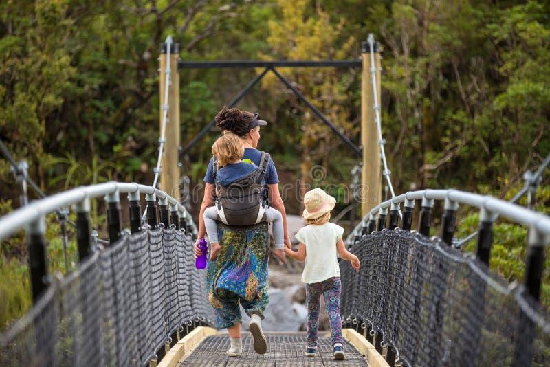 走在河吊桥的家庭 库存图片