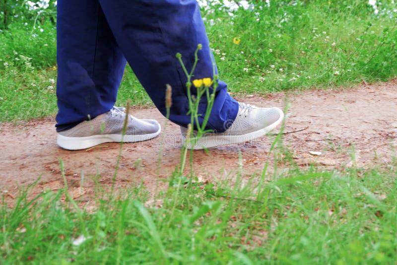 走在沿道路的公园 在运动鞋的人的脚关闭  免版税库存照片