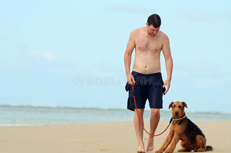 走在海岛海滩的年轻人&他的爱犬 免版税库存图片